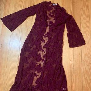 Burgundy lace kimono
